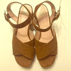 🆕Zara brown chunky heel strappy sandals size 38